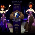 Charlotte black and purple gothic fantasy corset and gown
