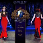 Regina red and black gothic fishtail gown