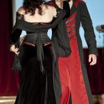 Red and black buckled men's gothic coat