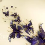 Purple, gold and silver butterfliy and crystal hair piece