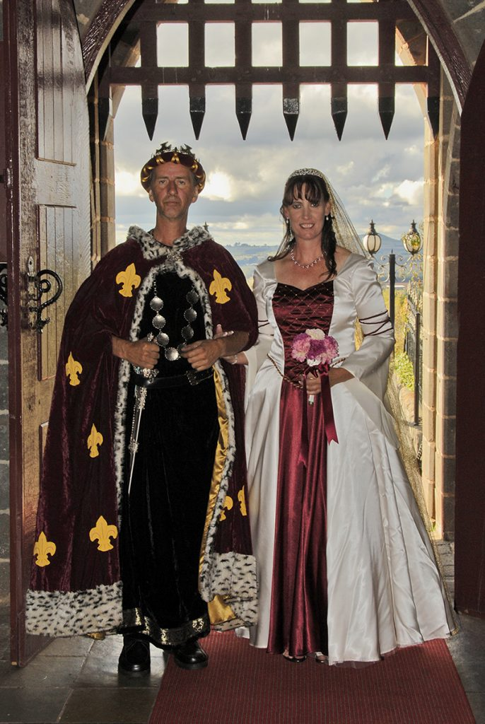 Ivory and burgundy medieval wedding gown