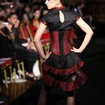 Burgundy silk corset and ruffled gown with chrysanthamums