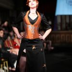 Orange silk maple leaf corset and skirt