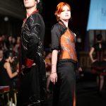 Orange silk maple leaf corset and skirt