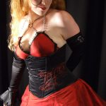 Black and red gothic dress and corset
