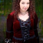 Ashalind gothic lolita dress in wine velvet and black lace