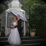 White corseted organza and crystal wedding gown