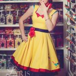 Yellow, red and black vintage dress