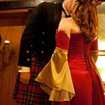 Crimson and gold corseted wedding gown