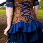 Sapphire Rose steampunk ruffled dress in blue and gold