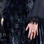 Starlight black and silver silk velvet dress