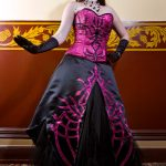 Pink and black corset and gothic fantasy gown