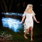 White ruffled LED dress