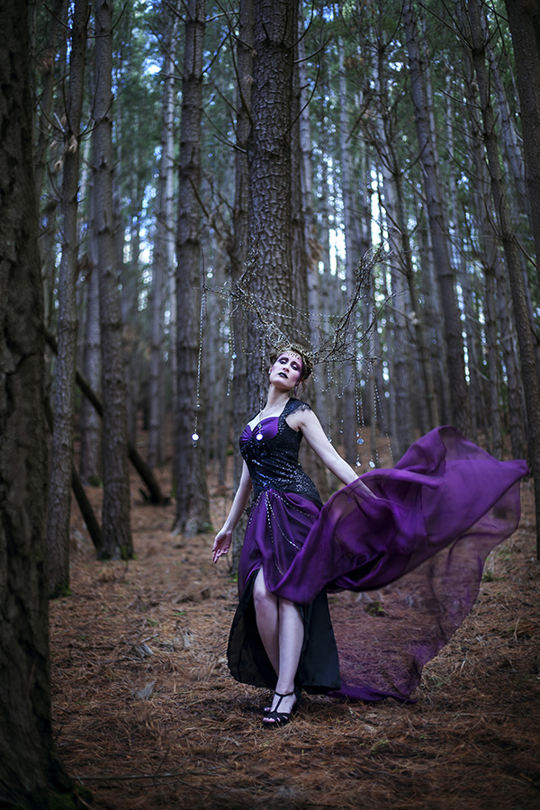 Meliae black and purple fantasy gothic gown