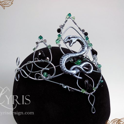Silver green and black elven Slytherin snake crown