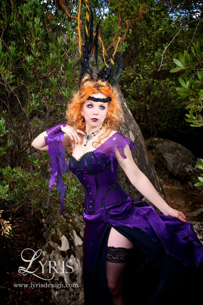 Black and purple dark fantasy fae Titania corset and gown