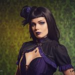 Elisanth gothic victorian steampunk purple black corset dress
