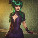 Elisanth gothic victorian steampunk purple black corset dress