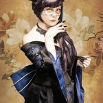 Black and blue cherry blossom gothic kimono and corset