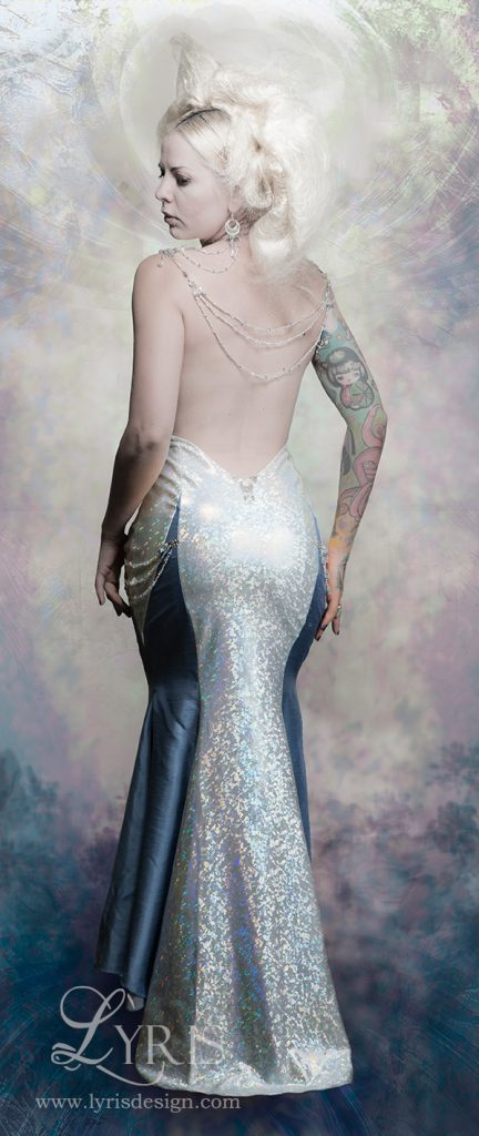 Mad Dame beaded holographic backless gown