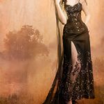 Black and silver beaded gothic couture gown and corset with mantle