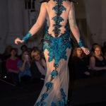 Beaded and armoured lace gown