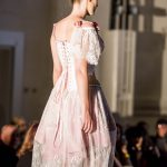 Pink and white lace dress and rose corset