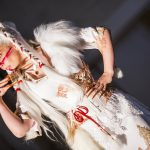 White kitsune fox druid tribal dress and corset