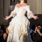 Cream and gold rococo ballgown French wedding dress