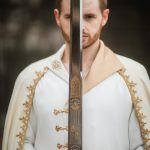 Silk wedding coat and wool cloak medieval groom