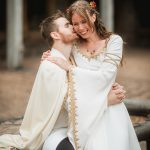 Silk wedding coat and wool cloak medieval groom, silk medieval bridal gown and wedding corset