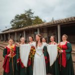 Silk medieval bridal gown and wedding corset