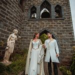 Silk wedding coat and wool cloak medieval groom, silk medieval bridal gown and wedding corset