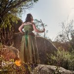 Australian druid shaman corset gown with skull, bones and beads