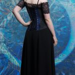 Vivien blue and black underbust corset and cherry blossom skirt