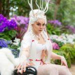 White fox kitsune forest spirit corset and dress