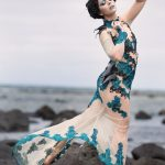 Nude peacock dress with beaded lace applique