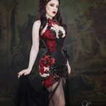 Morgana red black lace dress and corset with lilies