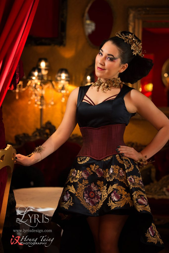 Navy gold and burgundy silk brocade dress and corset with gold flowers