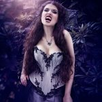Silver and black beaded gothic vampire corset