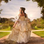 Gold white rococco beauty belle wedding dress