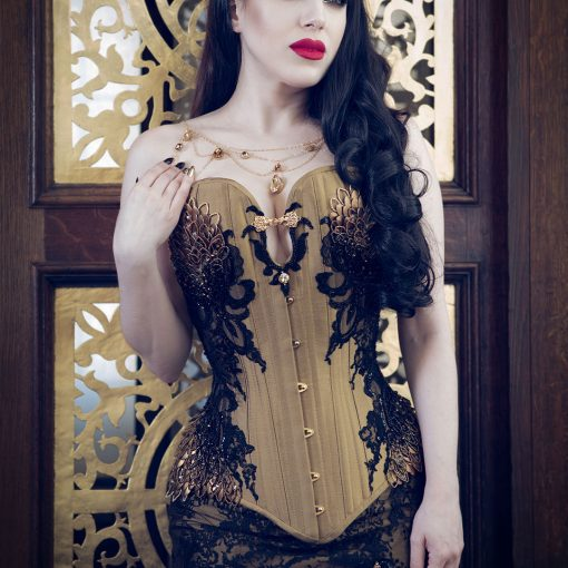 Gold silk black lace dragon scale corset