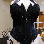 Pinning out the lace applique