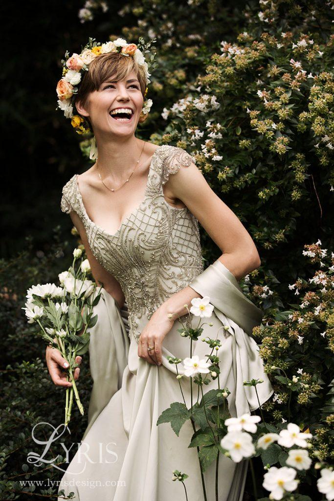 Beaded art nouveau wedding gown