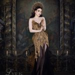Black and gold corset gown